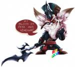 anthro axe battle_axe blind_eye clothed clothing costume double_bitted_axe english_text eye_scar fantasy_weapon fur fwuffyfurry hair hat kled_(lol) league_of_legends long_hair looking_at_viewer male mammal melee_weapon ponytail riot_games scar simple_background smile solo standing teeth text video_games weapon white_background white_fur yordleRating: SafeScore: 1User: slyroonDate: February 22, 2018