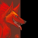 alpha_channel ambiguous_gender anthro black_sclera canine fur mammal omari red_eyes red_fur simple_background solo transparent_background wolf