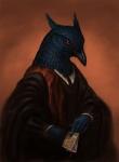 2016 5_fingers ambiguous_gender anthro avian beak bird bird-of-paradise black_beak blood_drip blue_feathers card clothed clothing crest digital_media_(artwork) digital_painting_(artwork) feathered_crest feathers front_view half-length_portrait holding_object humanoid_hands mephisto_(kubo) nosseren orange_background photorealism portrait red_eyes simple_background solo tarot_card trumpet_manucodeRating: SafeScore: 7User: DiceLovesBeingBlownDate: July 01, 2017