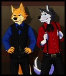 5_fingers anthro belt black_fur black_nose blue_eyes border bow_tie canine chain claws clothed clothing dipstick_tail dress_shirt duo fox front_view fully_clothed fur gloves_(marking) hands_on_hips lobotalow looking_at_viewer male mammal markings multicolored_tail open_mouth open_smile orange_fur pants red_eyes shirt smile standing suspenders waistcoat white_fur wolf