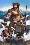 abs apple armor axe battle_axe blue_sky bracelet braided_hair caprine clothing detailed_background double_bitted_axe food fruit furgonomics hair hairy hi_res horn humanoid jewelry landscape male mammal manly melee_weapon mountain muscular muscular_male nipple_piercing nipples piercing pockyrumz polearm pouch satyr sky snow solo spear weapon