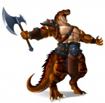 2017 abs anthro armor armpits axe barbarian belt biceps clothed clothing dinosaur fangs lordstevie male melee_weapon muscular muscular_male open_mouth pecs scalie solo straps teeth theropod topless tyrannosaurus_rex warrior weapon