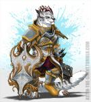 anthro armor blackchaos666 charr claws fangs feline female flat_chested fluffy fluffy_tail fur guild_wars hi_res horn mace mammal mane melee_weapon multi_ear plate_armor red_eyes shield simple_background solo video_games weapon white_fur