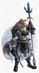 5_fingers abs anthro armor black_nose boots breastplate canine clothed clothing detailed dipstick_tail footwear fox frown fur greaves hi_res holding_object holding_weapon kazashino male mammal melee_weapon multicolored_tail muscular muscular_male pants plate_armor polearm scabbard shoulder_guards solo spear standing sword tan_fur vambraces weapon whiskers white_fur yellow_eyes