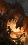 angry claws cliff climbing clothing cloud dragon eye_contact fantasy feral flying hi_res horn human kerem_beyit kerembeyit male mammal membranous_wings open_mouth outside pants rock scalie shirt sky spikes teeth tongue tongue_out tree watermark wings wood