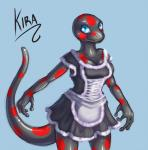 2014 amphibian anthro bald black_skin breasts clothed clothing female kira_(kira) maid_uniform mail-order-superhero newt simple_background solo spots uniform