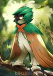 2016 ambiguous_gender avian barefoot beige_feathers bird branch brown_eyes claws day decidueye detailed_background feathered_wings feathers feral green_feathers hi_res kenshih leaf looking_aside looking_at_viewer nintendo outside owl pokémon red_eyes solo species_name standing tan_feathers tree video_games wingsRating: SafeScore: 27User: BlueDingoDate: November 26, 2016