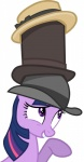 absurd_res boater_hat bowler_hat cupcakescankill equine female feral friendship_is_magic fur hair hat hi_res horse mammal multicolored_hair my_little_pony pink_hair pony purple_eyes purple_fur purple_hair solo stack top_hat twilight_sparkle_(mlp) two_tone_hair