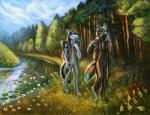 anthro black_fur black_nose canine day detailed_background digitigrade dog duo flashw fur grass husky mammal nude outside river sky smile standing wolf