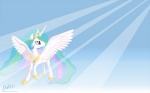 16:10 blackm3sh equine feathered_wings feathers female feral friendship_is_magic hi_res horn mammal my_little_pony princess_celestia_(mlp) solo wallpaper white_feathers widescreen winged_unicorn wings