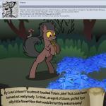 bitterplaguerat bush earth_pony equine feral forest horse loki_(bitterplaguerat) mammal mushroom my_little_pony plant pony scared solo text treeRating: SafeScore: -2User: Aryanne_HooflerDate: April 25, 2017