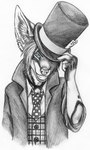 2007 alice_in_wonderland anthro big_ears blue_eyes bust_portrait canine clothing detailed dress_shirt ear_piercing fox hair hat holding_hat jacket looking_at_viewer mad_hatter male mammal necktie pattern_clothing piercing portrait rolled_up_sleeves shirt short_hair simple_background smile solo speed_(artist) spot_color suit top_hat victoriana waistcoat white_background