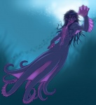 anthro cecaelia cephalopod digital_media_(artwork) gideon male marine octopus purple_body sea solo swimming underwater water webbed_hands