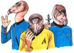 5_fingers animal_head anthro avian beak bird blue_eyes blue_topwear clothed clothing group holding_object human humanoid_hands hybrid hypospray james_t._kirk leonard_mccoy looking_at_viewer male mammal marker_(artwork) parody simple_background spock star_trek star_trek_the_original_series sweater terrie_smith traditional_media_(artwork) uniform vulcan_salute vulture white_background yellow_topwear