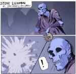 ! animated_skeleton bone clothing comic crown dan_warren dave_rapoza dungeon explosion not_furry skeleton skeleton_ears steve_lichman steve_lichman_(character) text undead