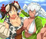 :d animal_humanoid apron big_breasts bovine bra breast_squish breasts brown_hair cattle cleavage clothed clothing cow_humanoid cow_print duo eyes_closed female gloves hair hataraki_ari head_wings horn humanoid jacket jeans mammal open_mouth pants short_hair smile sukimi_(hataraki) teeth underwear white_hair wings yellow_eyes