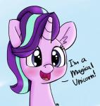 ! 2017 blue_background blush color_edit colored cute dialogue edit english_text equine eyelashes female feral friendship_is_magic fur hair headshot_portrait hi_res horn inner_ear_fluff mammal multicolored_hair my_little_pony open_mouth open_smile pabbley portrait purple_eyes purple_hair signature simple_background smile solo star_eyes starlight_glimmer_(mlp) talking_to_viewer text tongue two_tone_hair unicorn yakoshi