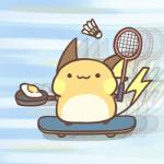 2017 :3 ambiguous_gender badminton_racket blue_background cooking feral food holding_object looking_at_viewer low_res mammal nintendo pokémon pokémon_(species) raichu rairai-no26-chu rodent simple_background skateboard skateboarding solo video_games