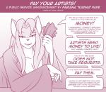 anthro bedroom_eyes breasts cleavage clothed clothing dialogue female half-closed_eyes karma_faye looking_at_viewer mammal marik_azemus34 mature mature_female money public_service_announcement robe seductiveRating: SafeScore: 4User: MarikAzemusDate: October 22, 2017