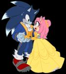 2017 alpha_channel amy_rose anthro black_nose blue_fur bottomless clothed clothing digital_media_(artwork) dress duo female footwear fur gloves green_eyes hair hedgehog mammal myly14 pink_hair romantic_couple shirt sonic_(series) sonic_the_werehog video_games werehog