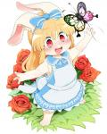 ambiguous_gender anthro arthropod blush butterfly clothed clothing cub cute dagasi dress duo female female_focus flower happy insect lagomorph mammal open_mouth plant rabbit rose smile solo_focus young