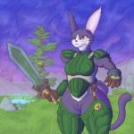 .hack 2017 anthro armor bludragoon breasts cat clothed clothing eyeliner feline female fur gloves grass makeup mammal melee_weapon mia_(.hack) pool_(disambiguation) purple_fur rock slit_pupils sword thick_thighs tree water weapon whiskers wide_hipsRating: SafeScore: 1User: BawkeelDate: January 18, 2017