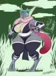2017 absurd_res alternate_color amphibian anthro anthrofied armor armwear big_breasts breasts charizard cleavage clothed clothing countershading dagger detached_sleeves digitigrade eyelashes female front_view full-length_portrait fullmetalmentalist greaves greninja grey_skin hi_res izumi_(kiala_tiagra) legwear long_tongue looking_at_viewer melee_weapon nintendo non-mammal_breasts pokémon pokémon_(species) pokémorph portrait pseudo_clothing reptile scalie simple_background skimpy slightly_chubby solo solo_focus tan_skin thick_thighs thigh_highs tight_clothing tongue tongue_out vambraces video_games weapon wide_hipsRating: SafeScore: 31User: dragondongersDate: October 14, 2017