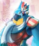 abstract_background ahruon anthro avian beak breath_of_the_wild feathers half-length_portrait kass_(zelda) looking_at_viewer male muscular muscular_male musical_note nintendo portrait scarf smile solo the_legend_of_zelda video_games yellow_eyes