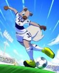 2018 anthro anthrofied ball blue_eyes brown_fur cleats clothed clothing cloud elpatrixf female footwear fur grass legwear nintendo open_mouth outside pokémon pokémon_(species) rockruff shoes sky soccer soccer_ball soccer_field soccer_uniform socks solo sport video_games