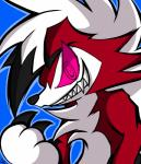 absurd_res canine chico claws fur hi_res lycanroc mammal midnight_lycanroc nintendo pokémon pokémon_(species) red_eyes red_fur sharp_teeth solo teeth video_games white_fur