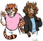 alpaca anthro arin_hanson camelid clothing danny_sexbang feline game_grumps jacket male mammal shirt t-shirt tiger unknown_artist