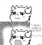angry anthro black_and_white blush comic crown english_text female horn kobold kobold_princess meme monochrome open_mouth parody princess puppet-by-night reaction_image royalty solo sound_effects text towergirls yelling