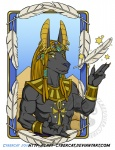 2016 4_fingers abs ankh anthro anubis biceps big_ears black_fur black_nose blonde_hair blue_sky bracelet canine cel_shading claws clothed clothing cybercat day deity desert detailed_background digital_media_(artwork) dreadlocks ear_piercing egyptian egyptian_mythology eye_markings eyebrows feathers front_view fur gesture gold_(metal) hair hair_ornaments half-length_portrait happy jackal jewelry long_hair looking_at_viewer male mammal markings muscular muscular_male outside pecs pectoral_(jewelry) piercing portrait pose pyramid raised_arm sand scarab sharp_claws short_fur sky smile snout solo star teeth topless triceps url watermark yellow_claws yellow_eyes