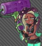 2017 bare_shoulders beauty_mark cephalopod clothing dark_skin female fingerless_gloves gloves green_eyes half-closed_eyes headphones humanoid jacket marina_(splatoon) marine meme navel nesh nintendo not_furry octoling octopus smile solo splatoon tentacle_hair tentacles video_games weapon