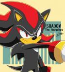 2017 anthro big_head black_nose clothing fur gloves hedgehog male mammal oremu_08 shadow_the_hedgehog simple_background sonic_(series) toony video_gamesRating: SafeScore: 1User: Kario-xiDate: October 22, 2017