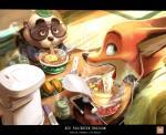 2017 anthro canine clothed clothing disney duo food fox fur gidora_(artist) male mammal nick_wilde noodles ramen tanuki zootopiaRating: SafeScore: 11User: Rysaerio-MisoeryDate: April 29, 2017