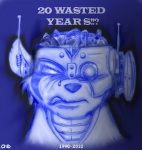 2010 angry blue_theme chip_n'death cybernetics cyborg eddie_(iron_maiden) iron_maiden_(band) machine male mammal rat rodent simple_background solo somewhere_in_time wasted_years