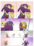 a_link_between_worlds alderion-al blonde_hair blue_eyes comic confusion elf green_eyes green_headwear group hair hi_res humanoid humor link motion_blur nintendo not_furry princess_hilda princess_zelda purple_hair ravio running the_legend_of_zelda video_games
