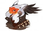 anthro avian bird black_feathers bust_portrait clothed clothing feathers grey_eyes guild_wars hoot icon looking_at_viewer male portrait quiver_silvertongue secretary_bird simple_background smile solo tengu video_games white_background white_feathers