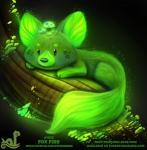 2018 ambiguous_gender bioluminescence black_background black_eyes branch canine cryptid-creations cute feral fox fungi_fauna fur glowing glowing_fur green_fur humor mammal mushroom night pun simple_background solo visual_pun wood