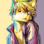 2014 anthro blonde_hair canine colorful crying dog fur hair inner_ear_fluff looking_at_viewer male mammal mayobug open_mouth simple_background solo tears