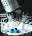 absurd_res anthro arcturus canine cheetah chef cooking dessert dog feline food hi_res husky hybrid male mammal restaurant solo swish tongue