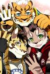 2017 amber_eyes anthro bearlovestiger13 blue_eyes cat feline fur green_eyes leopard likulau lin_hu looking_at_viewer male mammal nekojishi shu-chi tattoo tigerRating: SafeScore: 2User: DelurCDate: December 11, 2017