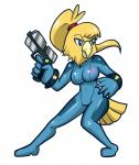alternate_species anaugi anthro avian blue_eyes chozo female furrification gun hi_res holding_object holding_weapon metroid nintendo ranged_weapon samus_aran simple_background solo video_games weapon white_background zero_suit