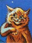ambiguous_gender anthro black_nose blue_background brown_fur cat feline fur hi_res license_info looking_away louis_wain mammal nude painting_(artwork) portrait public_domain semi-anthro simple_background smile smirk solo star traditional_media_(artwork) whiskers yellow_eyes