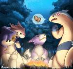 ambiguous_gender angry blush campfire clothing digimon dorumon forest group jacket night nintendo pokémon pokémon_(species) risenpaw star tree typhlosion video_gamesRating: SafeScore: 6User: YamaDoruXDate: May 19, 2018