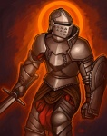 2012 ambiguous_gender armor breastplate clothing digital_media_(artwork) gauntlets gloves greaves helmet human knight loincloth mammal melee_weapon not_furry pauldron plate_armor shield simple_background snowskau solo sword weapon