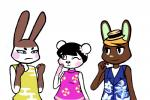 2015 animal_crossing anthro bear clothed clothing female genji_(animal_crossing) group hat inkyfrog lagomorph male mammal nintendo o'hare_(animal_crossing) one_eye_closed panda pekoe_(animal_crossing) rabbit simple_background smile video_games white_background