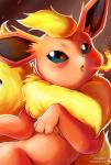 2014 ambiguous_gender blue_eyes blush eeveelution feral fire fire_breathing flareon fur hi_res looking_at_viewer nintendo open_mouth pokémon pokémon_(species) red_fur solo tongue vermeilbird video_games yellow_furRating: SafeScore: 16User: GranberiaDate: February 27, 2015