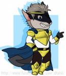 ambiguous_species anthro armor chibi clothed clothing dtalvi fangs fur hair male smile solo standing teeth